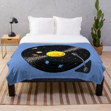 Solar System Schallplatte Fleecedecke