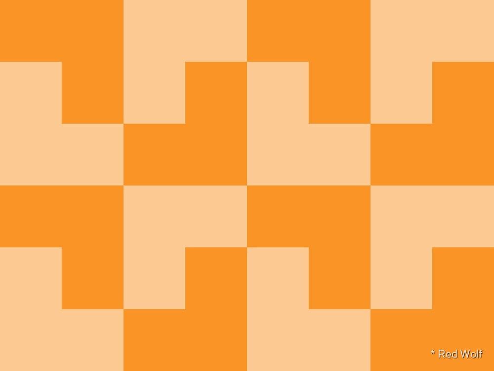 Geometric Pattern: Tetris Ell: Orange Light by * Red Wolf