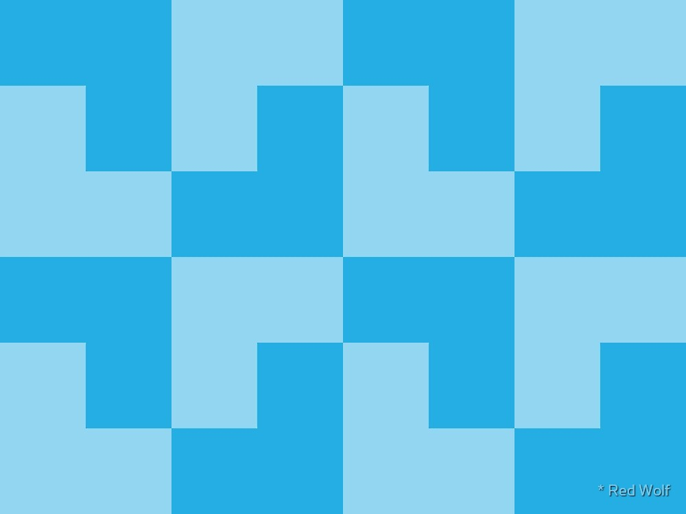 Geometric Pattern: Tetris Ell: Blue Light by * Red Wolf