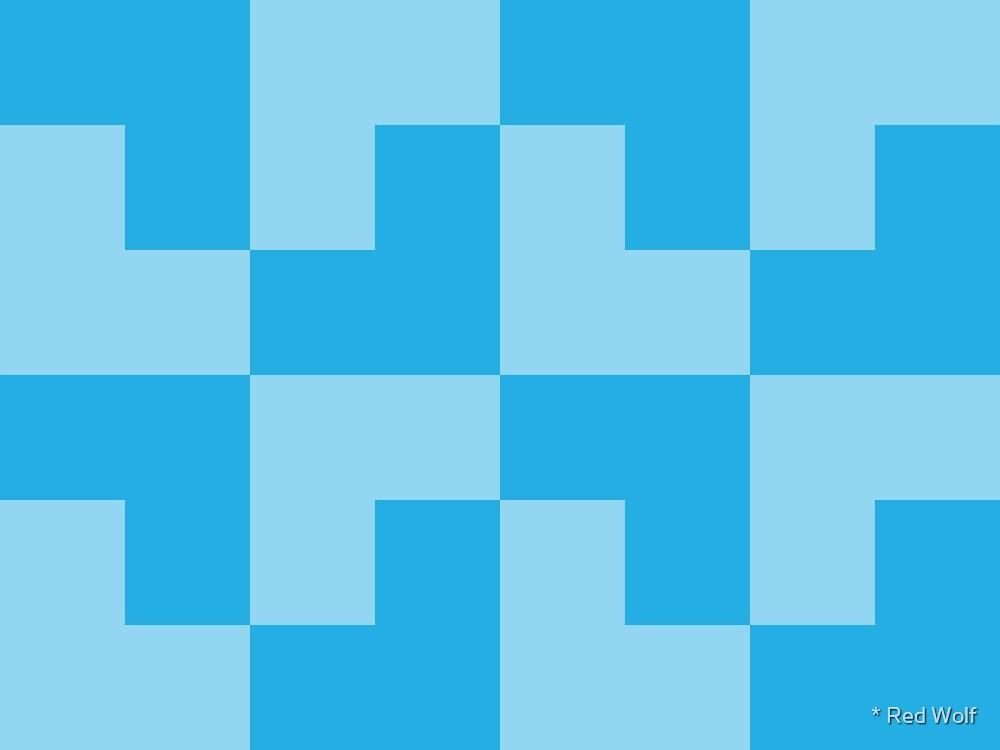 Geometric Pattern: Tetris Ell: Blue Light by * Red Wolf