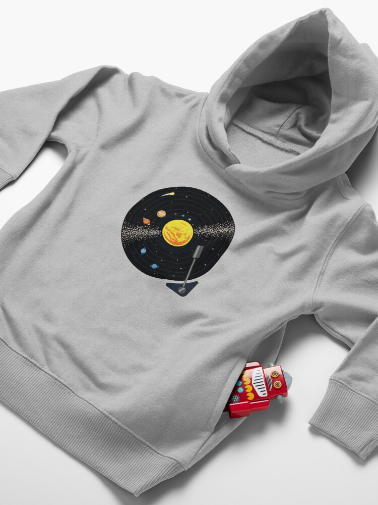 Alternate view of Solar System Vinyl Record Toddler Pullover Hoodie