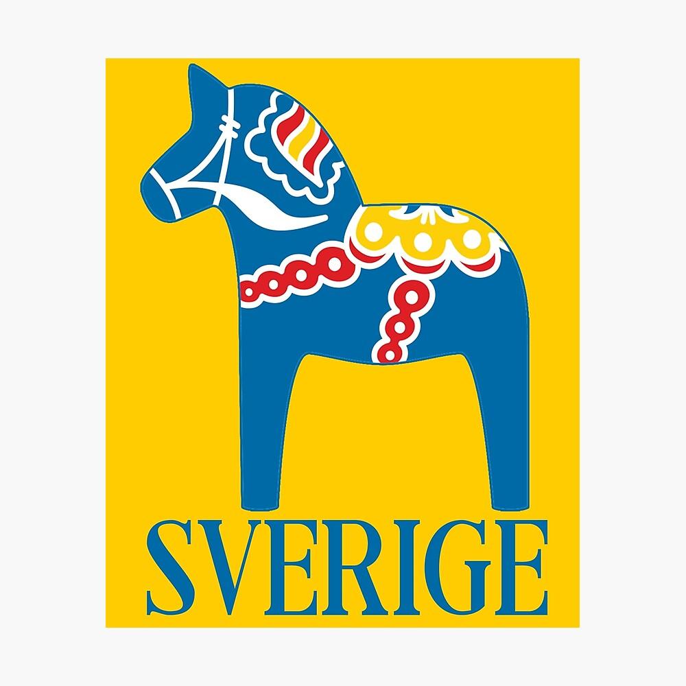 Sverige Dala Dalarna Sweden Pferd Dalecarlian Swedish Dalahost Fotodruck