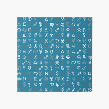 Astrology Symbols and Signs Blue Pattern Art Board Print