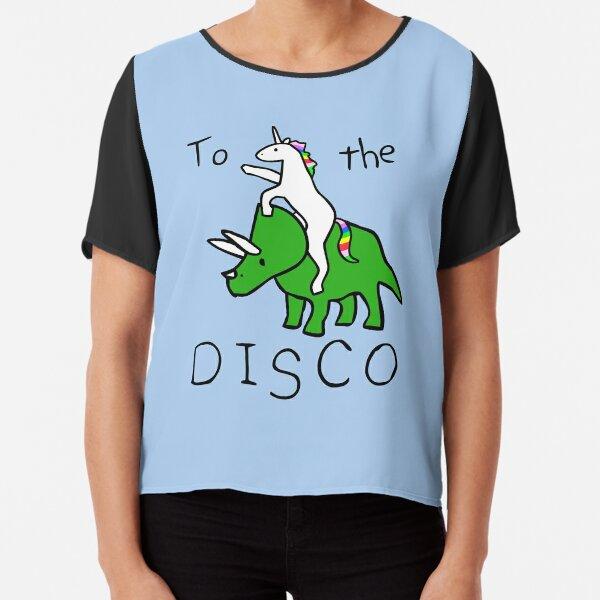 To The Disco (Unicorn Riding Triceratops) Chiffon Top