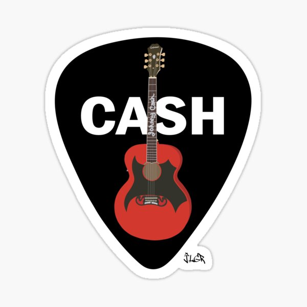 Cash Guitar and Pick Sticker