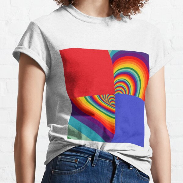 Rainbow Colors #Rainbow, #creativity, #design, #vortex, pattern, abstract, illustration, bright, curve, shape, art, spiral Classic T-Shirt