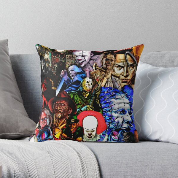 Collage Of Horror Throw Pillow