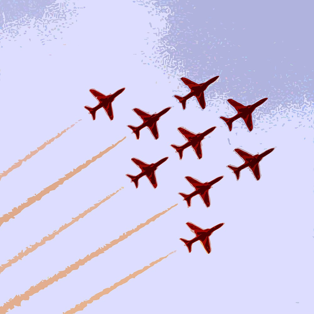 The Red Arrows RAF Display Team by Andrew  Bailey