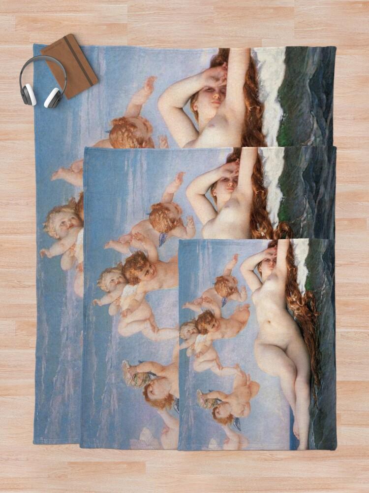 Alternate view of The #Birth of #Venus, Alexandre Cabanel 1875 #TheBirthofVenus #BirthofVenus Throw Blanket