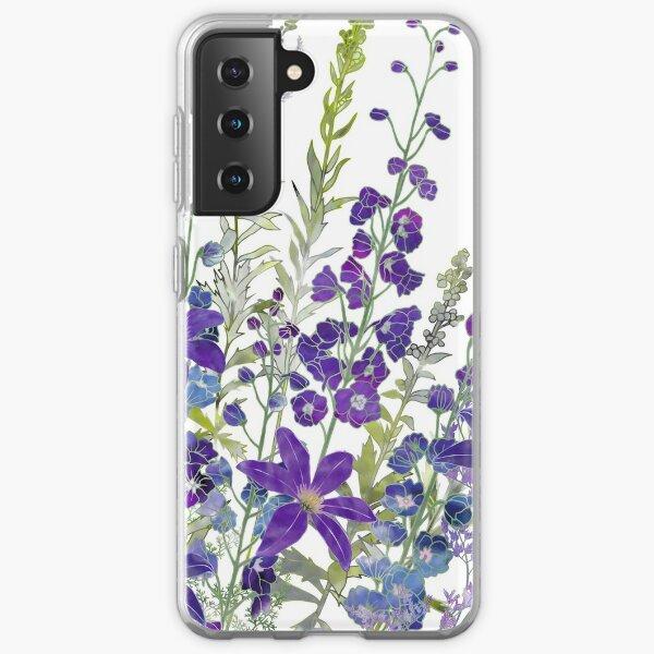 Purple Clematis & Delphiniums Samsung Galaxy Soft Case