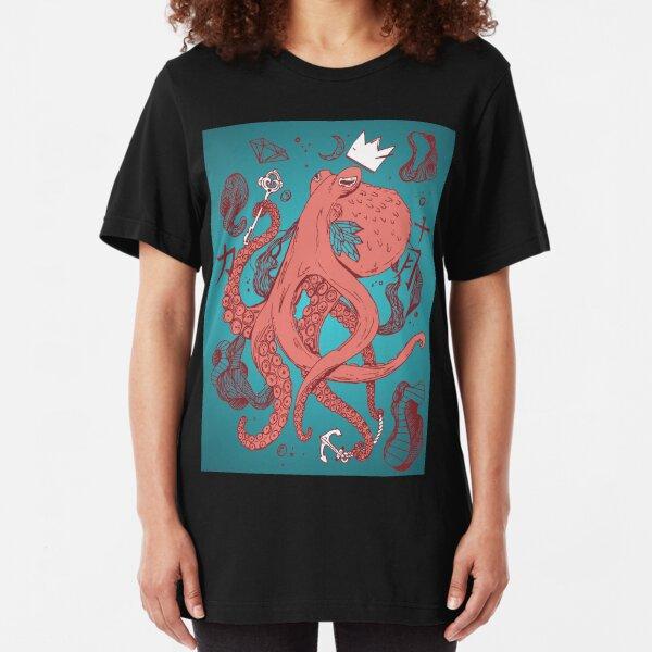 Royal Octopus Coral Moonlit Slim Fit T-Shirt