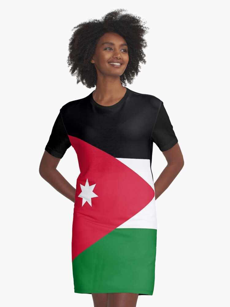 'Flag of Jordan' Graphic T-Shirt Dress by Countries-Flags