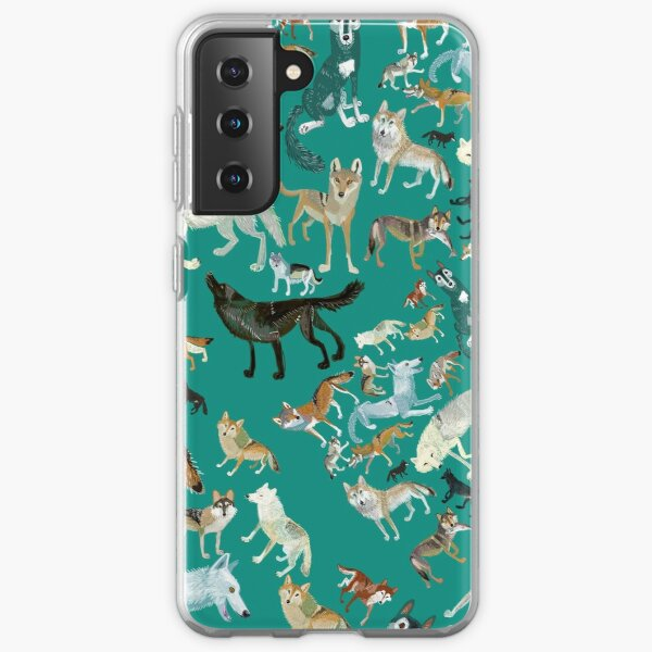 Wolves of the World (Green pattern) Samsung Galaxy Soft Case