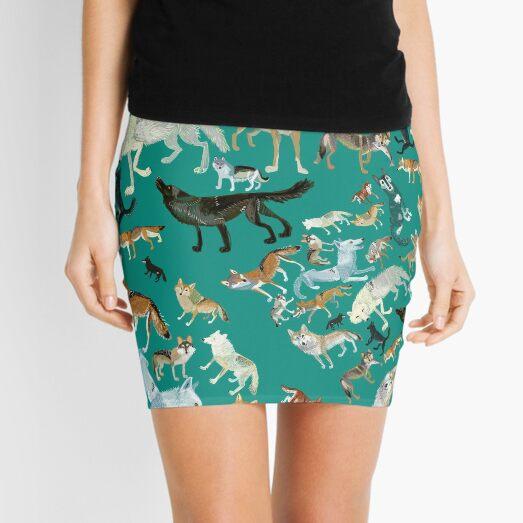 Wolves of the World (Green pattern) Mini Skirt