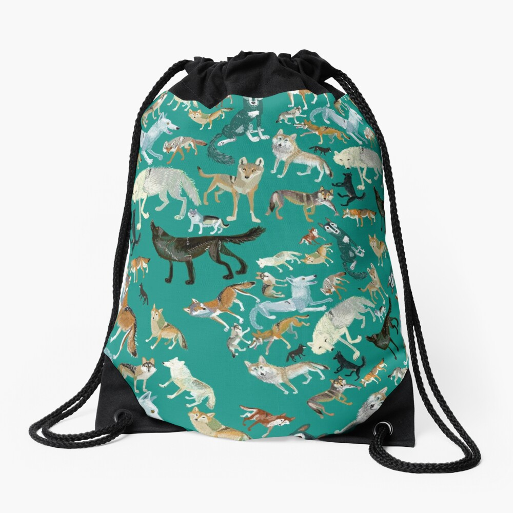 Wolves of the World in green Mochila saco