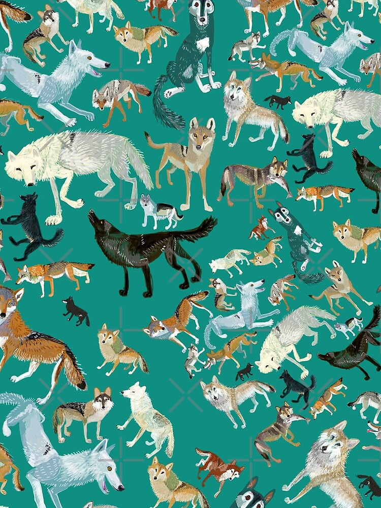 Wolves of the World in green de belettelepink