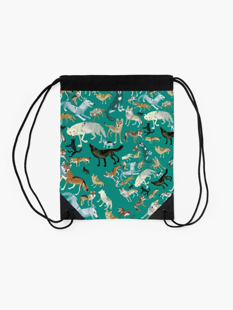 Vista alternativa de Mochila saco Wolves of the World in green