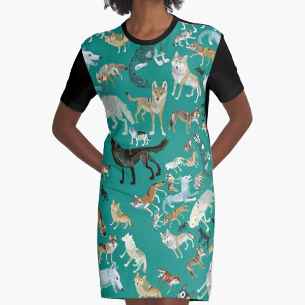 Wolves of the World (Green pattern) Graphic T-Shirt Dress