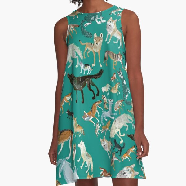 Wolves of the World (Green pattern) A-Line Dress