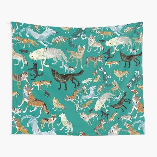 Wolves of the World (Green pattern) Tela decorativa