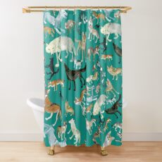 Wolves of the World (Green pattern) Shower Curtain