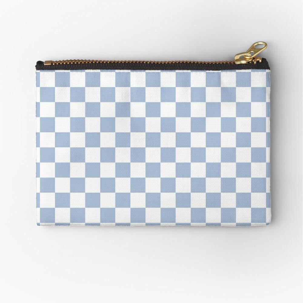 Pastel Blue + White Checkerboard Zipper Pouch