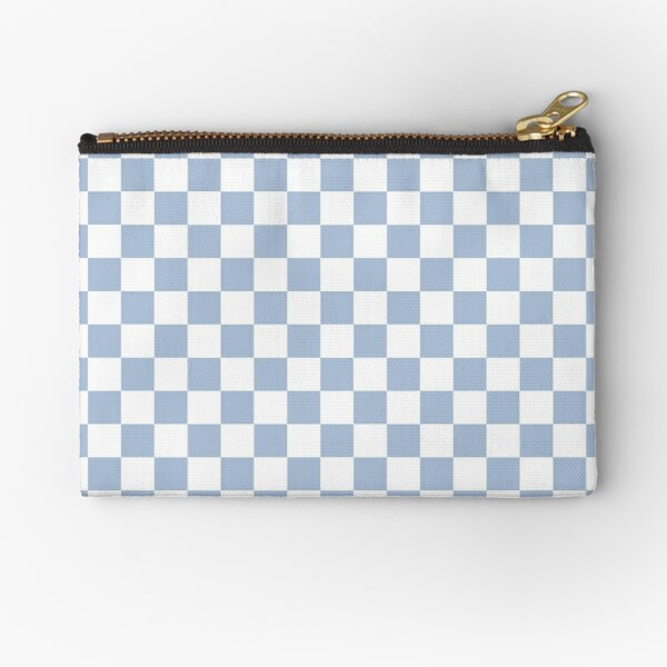 Pastel Blue + White Checkerboard Zipper Pouch