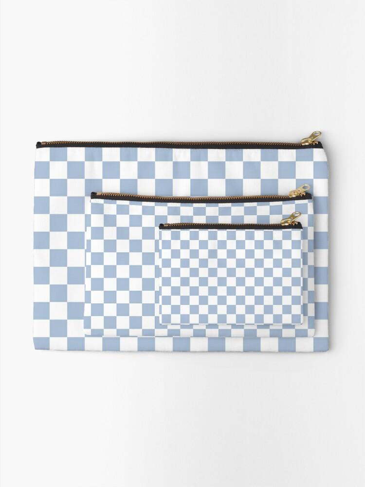 Alternate view of Pastel Blue + White Checkerboard Zipper Pouch