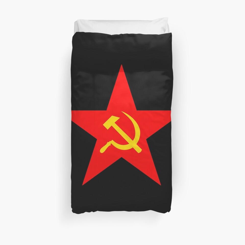 Hammer & Sichel, Roter Stern, Kommunistischer Stern, Kommunismus, auf SCHWARZ Bettbezug