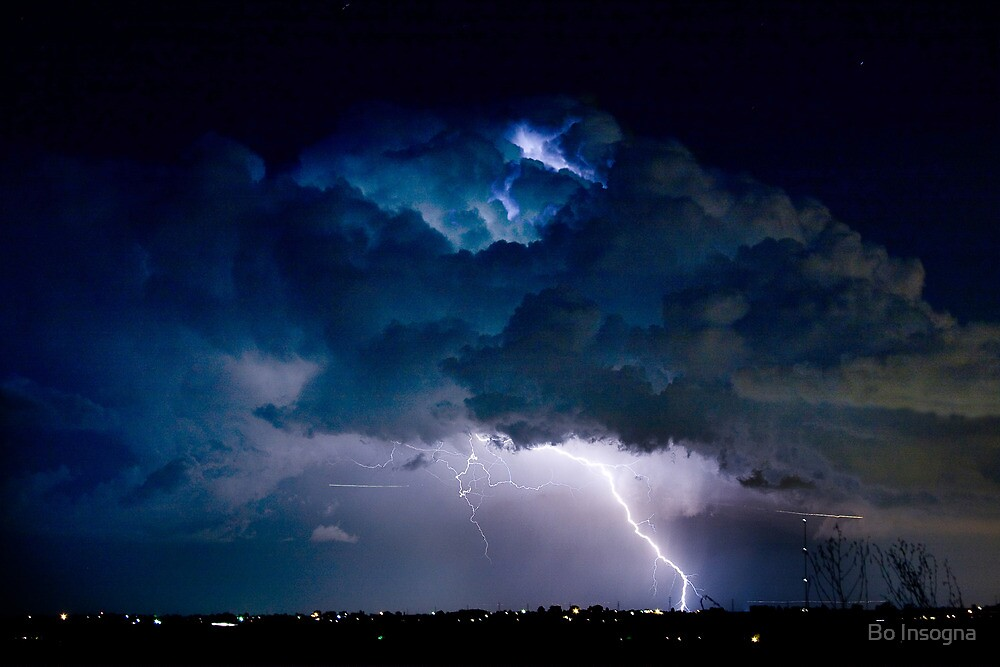 Clouds of Light. Lightning Striking Boulder County Colorado. by Bo Insogna