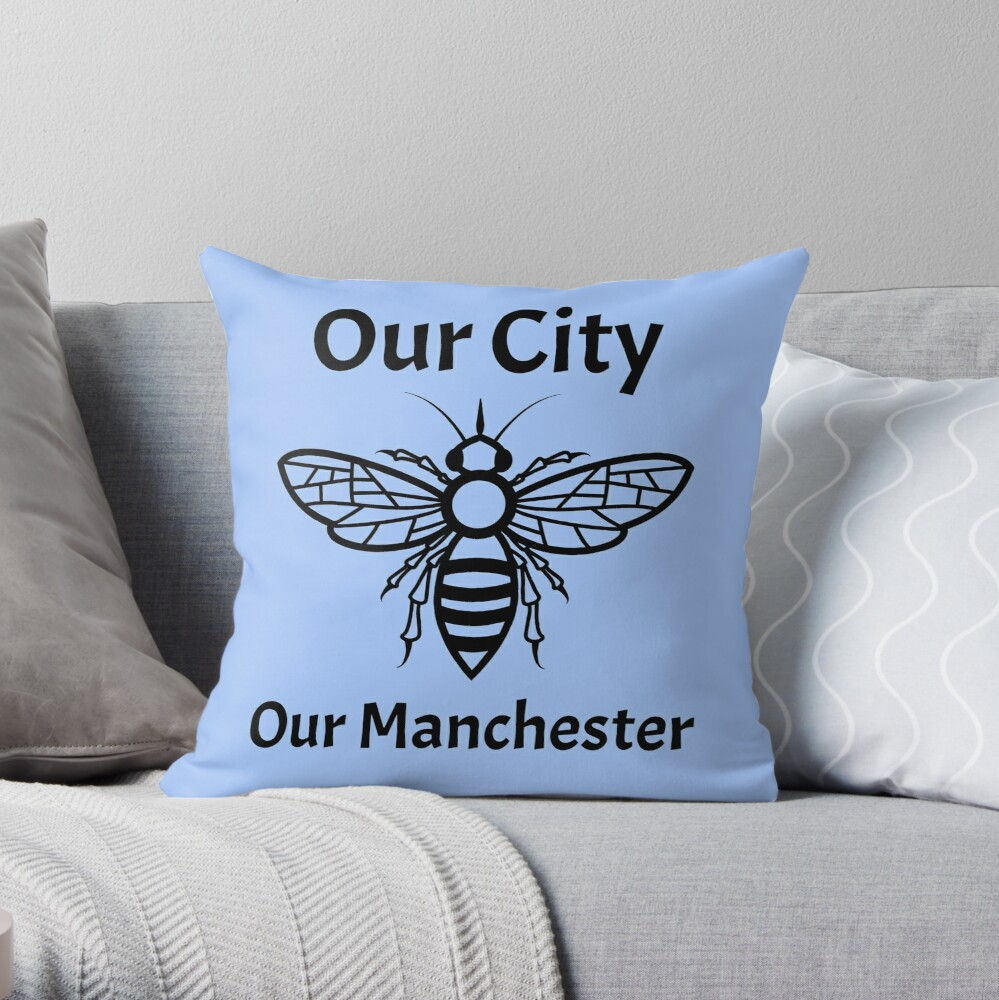 Our City, Our Manchester Bee Throw Pillow