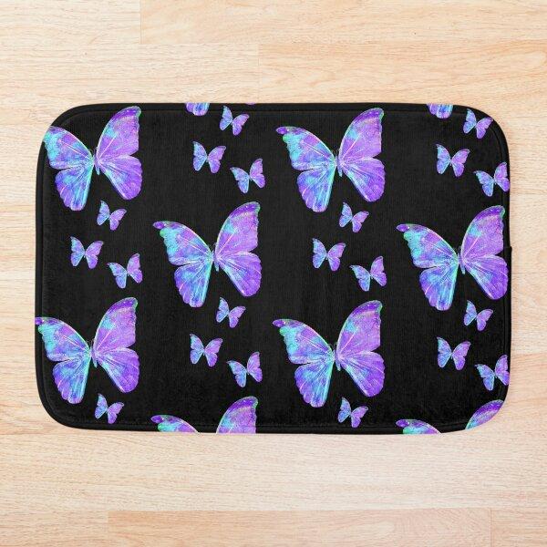 Purple Butterflies by Jan Marvin Bath Mat
