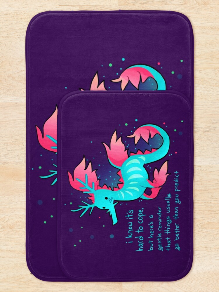 """Alternate view of """"Things Usually Go Better Than You Predict"""" Cute Sea Dragon Bath Mat"""