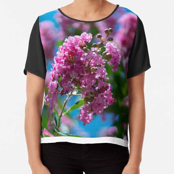 Pink Crepe Myrtle Tree Flowers Chiffon Top