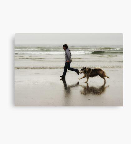 Beach, Boy, Dog Canvas Print