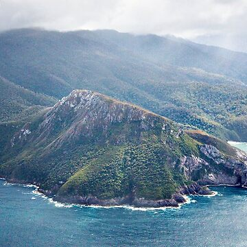 Aerial view of the Ironbound Range, South Coast Track, Tasmania by roger