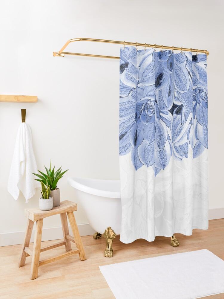 Alternate view of Elegant Blue Flowers Design Shower Curtain