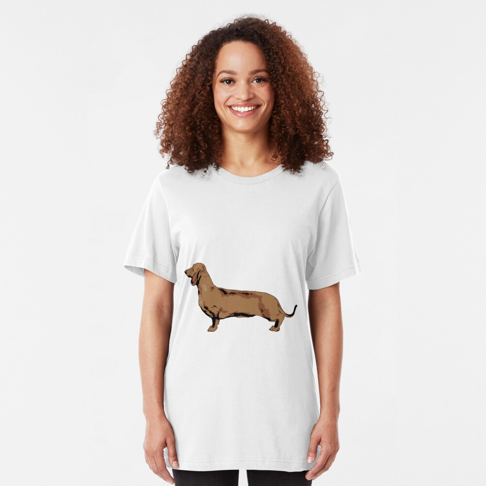 Red Smooth Haired Dachshund Slim Fit T-Shirt