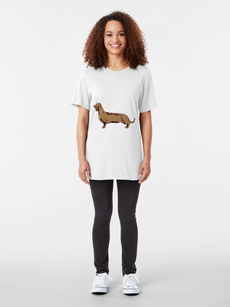Alternate view of Red Smooth Haired Dachshund Slim Fit T-Shirt