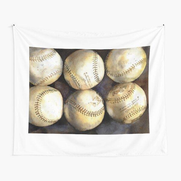 Baseball painting.  Watercolor painting of baseballs, home decor baseball Tapestry