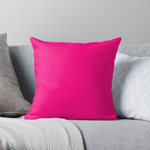 PLAIN SOLID  Bright PINK -100  Bright PINK SHADES ON OZCUSHIONS ON ALL PRODUCTS Throw Pillow