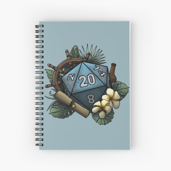 Seafaring D20 - Tabletop Gaming Dice Spiral Notebook