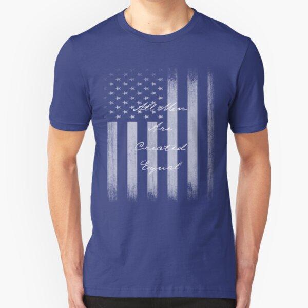Vintage All Men Created Equal US Flag Slim Fit T-Shirt