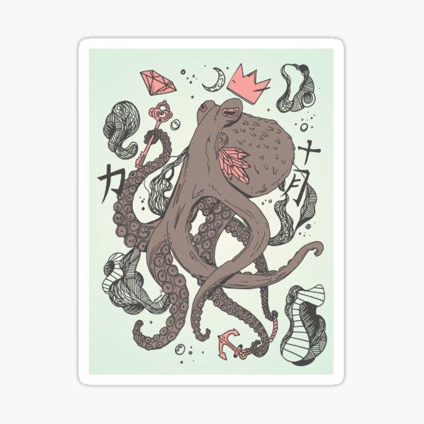 Royal Octopus Treasure Brown Sticker