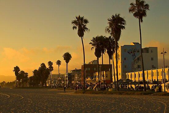 Dusk on Venice Beach, California by Barb White