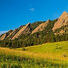 Boulder Colorado Flatirons Sunrise Golden Light by Bo Insogna