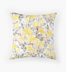 Sunny Yellow Crayon Striped Summer Floral Throw Pillow