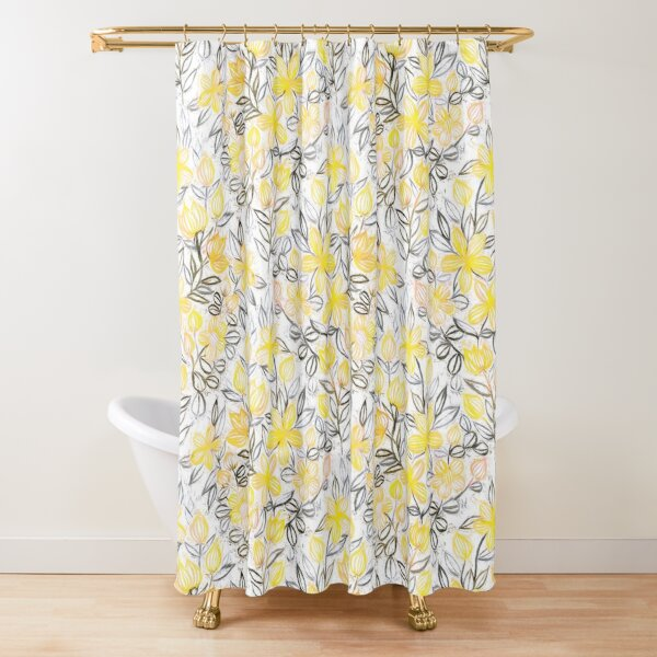 Sunny Yellow Crayon Striped Summer Floral Shower Curtain