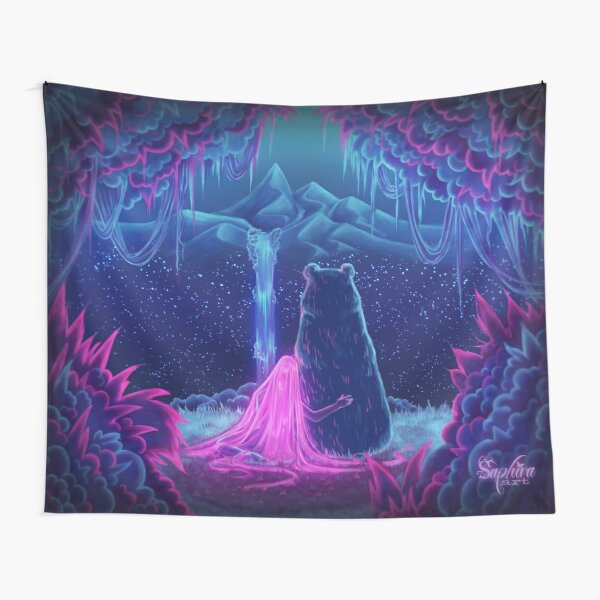 Girl With The Bear - Fantasy artwork Tapestry