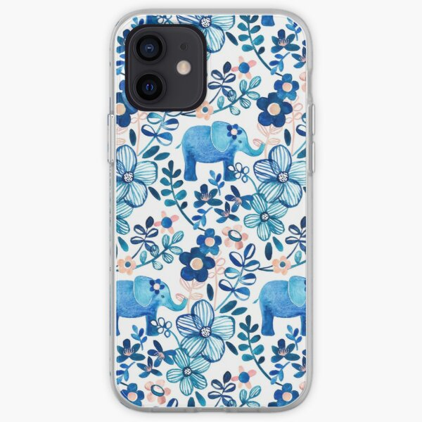 Blush Pink, White and Blue Elephant and Floral Watercolor Pattern iPhone Soft Case